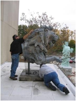 Bird proofing Zinc Lion - Brooklyn Museum